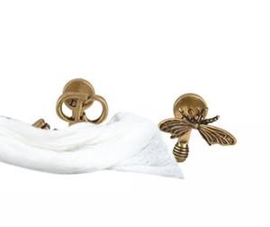 Hot Sale C1430 European and American personality retro brass punk earring bee letters asymmetrical fan ear stud woman charm jewelry