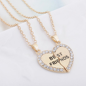 Wholesale best friendship for sale - Group buy Fashion jewelry Best Friend necklace pendants crystal splicing gold silver friendship necklace jewelry heart pendant necklace for women men