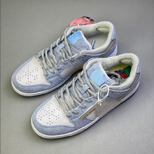 Wholesale boys skates resale online - Sean Cliver x Skate Board Low Pro Women Men Shoes White Psychic Blue Dunk Shoes Metallic Gold Athletic Sneakers Mens Skateboard shoes
