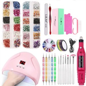 Wholesale machine abs for sale - Group buy ABS Nail Art Kit With W Nail Lamp Manicure Machine Set For Building Tools Sets Wiht Acrylic Powder All For Manicure
