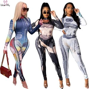 Long Sleeve Turtleneck Jumpsuit Sexy US Dollar Money Printed Long Sleeve Clubwear Romper One Piece Onseie Jumpsuits Fall Clothes