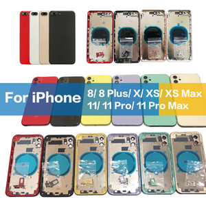 Wholesale frame houses resale online - OEM Housing For iphone Plus X XR XS Pro MAX Back Glass Middle Frame Chassis Battery Rear Cover Full Housing Assembly