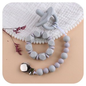 Baby Pacifier Clip + Silicone Pacifier Teether + Silicone Beads Bracelet 3Pcs Set Toddlers Product Infants Nipple Clips Dummy Clip M3107