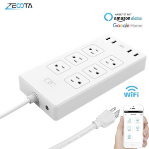 Wholesale surge protectors outlets resale online - WiFi Smart Power Strip Surge Protector Way US Plug Electrical USB Socket Extension Outlet Remote Control by Alexa Google Home