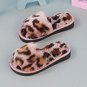 Wholesale warm indoor shoes children for sale - Group buy 2020 Children Winter Home Slippers Warm Cotton Shoes Women Plush Slippers Indoor Non slip Leopard Hair Kids Boys1