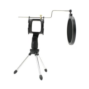 Wholesale mic pop filter resale online - New Universal Foldable Adjustable Microphone Stand Desktop Tripod for Computer Video Recording with Mic Windscreen Pop Filter Cover