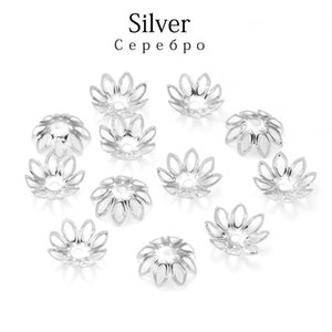 Wholesale silve jewelry for sale - Group buy 100pcs Silve Gold Rhodium Bulk Flowers Beads Caps Mm Spacer Loos Charm Bead Cap For Jewelry Making Findings Supplies H wmtVFn
