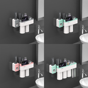 Wholesale bathroom accessories sets resale online - Toothbrush Holder Bathroom Accessories Toothpaste Squeezer Dispenser Storage Shelf Set For Bathroom Magnetic Adsorption With Cup W1219