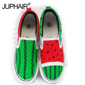 ingrosso scarpe casuali anguria-New al dettaglio Casual Casual Beach Watermelon Summer Autumn Girl s Boy Fashion Canvas Down Shoes Painted Cartoon Shoes Shoes Q1206