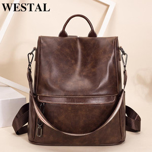 Wholesale backpacks for laptops resale online - WETSAL Vintage Women s Backpack for Laptop Female Backpack Genuine Leather School Bag for Girls Shopping Travel Backpack Women