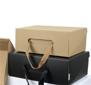 Wholesale rope boots for sale - Group buy Rectangle Fold Carton Kraft Paper Rope Gift Container Black Brown White Packing Organizer Storage Shoes Boots Portable M2