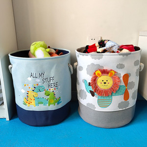 Wholesale canvas storage buckets resale online - Baby Laundry Basket Cute Dinosaur Foldable Toy Storage Bucket Picnic Dirty Clothes Basket Box Canvas Organizer Cartoon Animal LJ200821