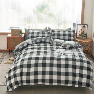 Wholesale white striped bedding resale online - Solstice Black White Striped Lattice Bedding Set Kid Children Boy Girls Linen Duvet Cover Pillowcase Bed Sheet