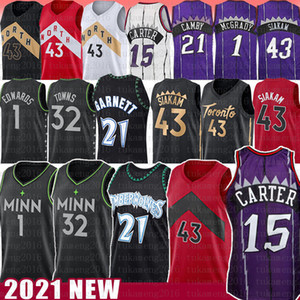 carter camisa de basquete venda por atacado-Vince Carter Kevin Garnett Pascal Siakam Basketball Jersey Anthony Edwards Karl Anthony Cidades Marcus Tracy Camby McGrady