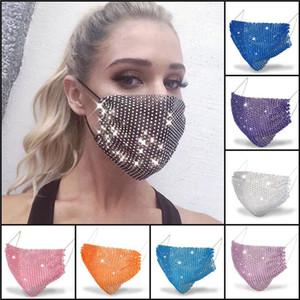 DHL Ship 50pcs Fashion Colorful Mesh Masks Bling Diamond Party Mask Rhinestone Grid Net Mask Washable Sexy Hollow Mask for Women