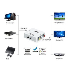 выход hdmi rca  оптовых-HD P HDMI2AV Video Converter Box HDMI в RCA AV CVSB L R Видеопоставка NTSC PAL Выход HDMI к AV Adapter x