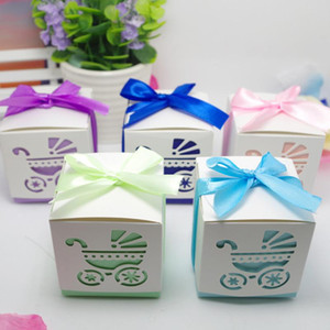 Wholesale baby showers favours resale online - 50pcs Baby Carriage Wedding baby shower Candy Box favor paper box favour gift Girls birthday Party decoration