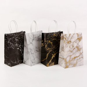 Wholesale packaging design paper bags resale online - Festival Christmas Gift Paper Bag Marble Design Printing White Kraft Paper New Year Packaging Bag Twist Handle