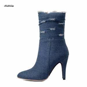 Wholesale small yards boots women resale online - Small Yards Plus Winter Woman Denim Warm snow Boots cm thin heels Short Plush boot women Pointed Toe boots