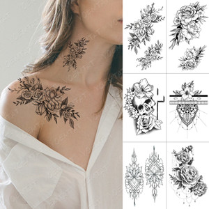 Wholesale tattoo crosses resale online - Waterproof Temporary Tattoo Sticker Cross Skull Flowers Flash Tattoos Rose Peony Body Art Arm Water Transfer Fake Tatoo Women