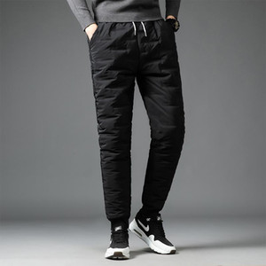 Winter Man Down Pants Solid black Color Thicken Windproof Warm Cotton Pants Elastic waist Outdoor Trousers