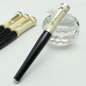 Wholesale finance art resale online - high quality Ballpoint pens Greta Garbo black resin Fountain Pen roller ball pen with pearl silver clip office school stationery