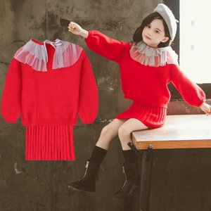 Wholesale girls red coat set for sale - Group buy 2020 Girls Winter Clothes Set Red Knitted Sweater and Long Vest Dress Clothing Suit Autumn Outfits for Kids Girl s Costume Y1117