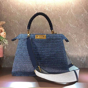 Wholesale plain straw resale online - Women Handbag Large Capacity Package Shopping Bags Fashion Straw Hollow Out High Quality Woven Style Plain Letter Wide Shoulder Strap