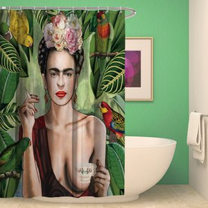 Wholesale printed polyester shower curtains resale online - Hand Painted Ferrida Caro Printed Shower Curtains American Style Waterproof Bath Curtains Polyester Bathroom Curtain sea shipping GWB4840