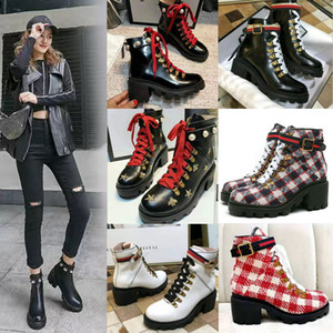 Wholesale boots high heel for sale - Group buy 2021 Women Bee Platform Desert Boots Lady leather Ankle boots High Heel Martin shoes Print Check tweed with belt Good quality Star Trail