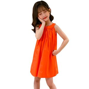 Wholesale beach costume for kids for sale - Group buy Dress For Girls Solid Color Girls Party Dress Kids Summer Child Beach Casual Style Kids Costume