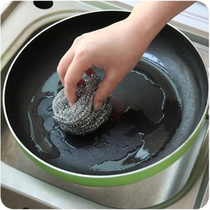 Wholesale stainless steel kitchen price resale online - Factory price kitchen Stainless Scourer Steel Wire cleaning Ball Bowl Pot brush for washing dishes Household Tools