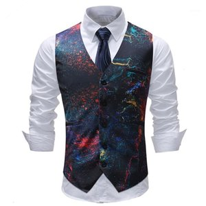 Wholesale space man suit for sale - Group buy Wedding Vest Men New Casual Space Galaxy Print Slim Sleeveless Waistcoat Formal Male Slim Fit Single Breasted Suit Vest1