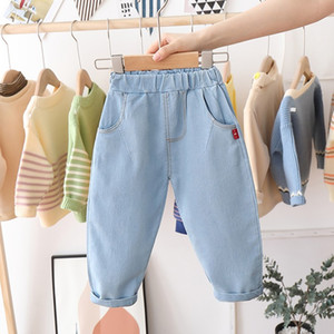 Wholesale boy jeans resale online - Boys Toddler Cowboy Jeans Autumn Pants Solid Color Elastic Waist Boy Girls Casual Style Children Draped Baby Clothing