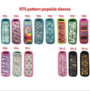 cônes de glace achat en gros de-news_sitemap_home14 Styles Motif Popsicle Porte congélateur glace Lolly Sleeve Protector Outils Ice Cream Party Supply néoprène Insulator manches DDA795