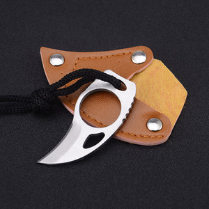 Wholesale mini claw knife resale online - Outdoor Edc Life Saving Equipment Mini Knife Mc Claw Claw Small Straight Knife with Rope Leather Cover