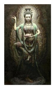 Wholesale painting kwan yin for sale - Group buy A74 Framed Unframed Chinese Dunhuang Kwan yin Goddess High Quality Handcrafts HD Print Portrait Art Oil painting On canvas Multi sizes D40
