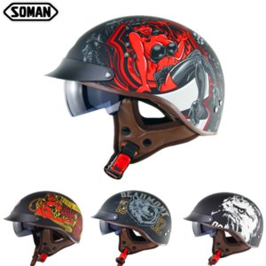 Wholesale half scooter open face motorcycle resale online - Soman SM202 scooter Helmets Dot approved Half Face Open Motorcycle Helmet motor kask Retro summer riding capacetes para moto