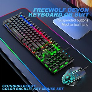 Wholesale japanese keyboards resale online - Free wolf T13 German Japanese keyboard set Rainbow Backlight Usb Ergonomic Gaming Keyboard and Mouse Set for PC Laptop