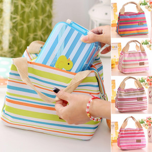 Wholesale ladies lunch bags for sale - Group buy Kids Bag Stripe Insulated Food Lunch Tote Picnic Bags Box Ladies For Girls Women Thermal Cganx