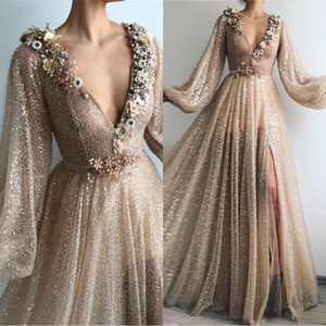 2021 High Quality Champagne Gold Muslim Formal Prom Dresses Flowers V-Neck Sequin A-Line Dubai Arabic Long Sleeve Evening Dresses