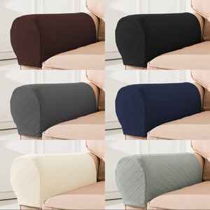 Wholesale sofas covers resale online - 2pcs Set Cloth Handrail Cover Lattices Solid Color Chair Armrest Case Sofa Thickening Non Slip Protective Sleeve Home Couch Decor bn G2