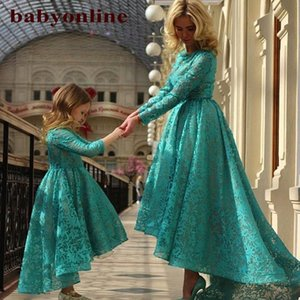 Wholesale mothers ball resale online - New Arabic Daughter And Mother Dresses Dark Teal Jewel Ball Gown With Long Sleeves Hi Lo Evening Dresses Flower Girls Dresses BO8941