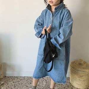 Wholesale new dress girls lapel resale online - 2020 Childrens Autumn Clothes New Girls Fashion Lapel Loose Denim Maxi Dress Solid Color Long Sleeve Casual Dresses Years J1205