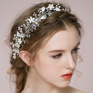Wholesale european jewelry newest designs resale online - Newest European Design Hair Vine Copper Wire Leaves Wedding Hair Accessories Pearl Crystal Flower Bridal Wedding Jewelry