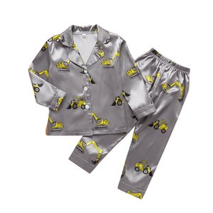 Wholesale baby clothes elephants boys resale online - Kids Boys Cartoon Pajamas Toddler Girls Elephant Printed Homewear Baby Turn down Collar Clothes Sets Big Kids Pijamas