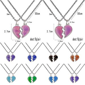 Wholesale love heart wing necklace resale online - Valentine s Day Thermochromic Couple Necklace Angel Wing Love Heart Necklace Valentines Day Gifts Best Frind Stainless Steel Chain