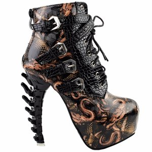 лодыжка оптовых-LF80648 Sexy Punk Design Brown Snake Pattern Conse Bone Flath Platform Boots Black Y200702