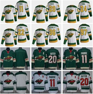 Reverse Retro Hockey Minnesota Wild Jersey 11 Zach Parise 20 Ryan Suter Kevin Fiala Mats Zuccarello Matt Dumba Kirill Kaprizov Green White