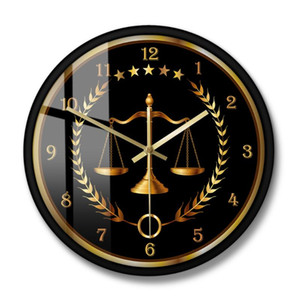 Wholesale scales justice for sale - Group buy Non Ticking Timepiece Lawyer Office Decor Scale Of Justice Modern Wall Clock Law Firm Wall Art Judge Law Hanging Watch